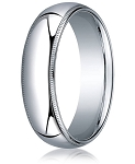 Designer 8 mm Domed Milgrain Polished Finish with Comfort-fit 10K White Gold Wedding Band - MB1052