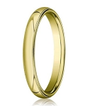 Comfort-fit 18K Yellow Gold Wedding Band with Domed Milgrain Polished Finish – 3 mm - MB1201