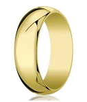 Traditional-fit 14K Yellow Gold Wedding Band with Domed Milgrain Polished Finish – 8 mm - MB1067