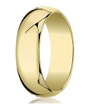 Traditional 14K Yellow Gold Wedding Band with Domed Polished Finish – 7 mm - MB1073