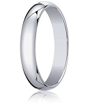 Traditional 14K White Gold Wedding Band with Domed Polished Finish – 4 mm - MB1076