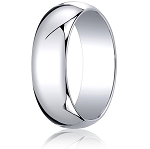 Traditional 14K White Gold Wedding Band with Domed Polished Finish – 7 mm - MB1079