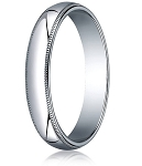 Traditional Fit 10K White Gold Wedding Band with Domed Milgrain Polished Finish – 4 mm - MB1095