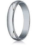 Traditional Fit 14K White Gold Wedding Band with Domed Milgrain Polished Finish – 4 mm - MB1109