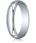 Traditional Fit 18K White Gold Wedding Band with Milgrain and Polished Finish – 5 mm - MB1228