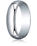 Traditional Fit 18K White Gold Wedding Band with Milgrain and Polished Finish – 6 mm - MB1230