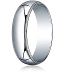Traditional Fit 14K White Gold Wedding Band with Domed Milgrain Polished Finish – 8 mm - MB1113