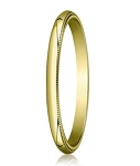 Traditional Fit 10K Yellow Gold Wedding Band with Domed Milgrain Polished Finish – 2 mm - MB1100