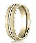Comfort-Fit 14K Yellow Gold Wedding Band with Designer Engraved Satin Finish – 4 mm - MB1122
