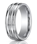 Comfort-Fit 14K White Gold Wedding Band with Designer Engraved Polished Finish – 8 mm - MB1128