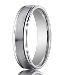 Comfort-Fit 14K White Gold Wedding Band with Designer Engraved Satin Finish – 4 mm - MB1132