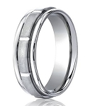 Comfort-Fit 14K White Gold Wedding Band with Designer Engraved Satin Finish – 6 mm - MB1138