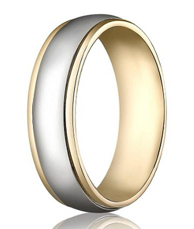 Yellow White Gold Wedding Band With Two Toned Polished Finish MB1144