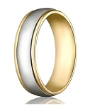 Comfort-Fit 14K Yellow & White Gold Wedding Band with Two-Toned Polished Finish – 4 mm - MB1143
