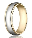 Comfort-Fit 14K Yellow & White Gold Wedding Band with Two-Toned Polished Finish – 6 mm - MB1144