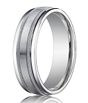 Comfort-Fit 14K White Gold Wedding Band with Designer Brushed – Spun Satin Finish – 4 mm - MB1150