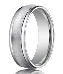 Comfort-Fit 14K White Gold Wedding Band with Designer Sand Blasted Finish – 4 mm - MB1153