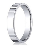 Designer Comfort-Fit Platinum Flat Profile Wedding Band with Polished Finish – 4mm - MB1170