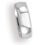 Comfort-fit 18K White Gold Wedding Band with Domed Milgrain Polished Finish – 8 mm - MB1211