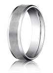 Comfort Fit 18K White Gold Wedding Band with Beveled Edge Satin Finish – 4 mm - MB1233