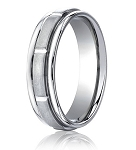 Comfort Fit 18K White Gold Wedding Band with Designer Engraved & Satin Finish – 6 mm - MB1274