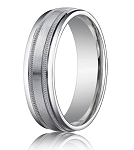 Comfort Fit 18K White Gold Wedding Band with Designer Spun Satin Finish – 6 mm - MB1256