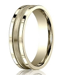 Comfort Fit 18K Yellow Gold Wedding Band with Designer Brushed Spun Satin Finish – 4 mm - MB1247