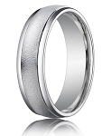 Comfort Fit 18K White Gold Wedding Band with Designer Sand Blasted Finish – 4 mm - MB1248