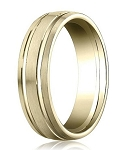 Comfort Fit 18K Yellow Gold Wedding Band with Designer Engraved & Satin Finish – 6 mm - MB1252