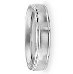 Comfort Fit 18K White Gold Wedding Band with Designer Engraved & Satin Finish – 6 mm - MB1253