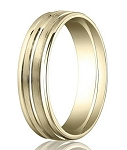 Comfort Fit 18K Yellow Gold Wedding Band with Designer Engraved & Polished Finish – 6 mm - MB1259