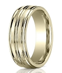 Comfort Fit 18K Yellow Gold Wedding Band with Designer Engraved & Polished Finish – 8 mm - MB1264
