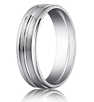 Comfort Fit 18K White Gold Wedding Band with Designer Engraved & Polished Finish – 4 mm - MB1268