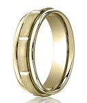 Comfort Fit 18K Yellow Gold Wedding Band with Designer Engraved & Satin Finish – 4 mm - MB1271