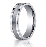 Comfort Fit 18K White Gold Wedding Band with Designer Engraved & Satin Finish – 6 mm - MB1272