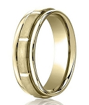 Comfort Fit 18K Yellow Gold Wedding Band with Designer Engraved & Satin Finish – 6 mm - MB1275