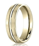 Comfort Fit 18K Yellow Gold Wedding Band with Designer Engraved & Satin Finish – 6 mm - MB1277