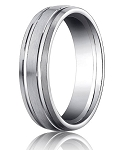 Comfort Fit 18K White Gold Wedding Band with Designer Engraved & Satin Finish – 6 mm - MB1278