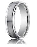 Comfort Fit 18K White Gold Wedding Band with Designer Engraved & Satin Finish – 4 mm - MB1280