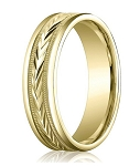 Comfort Fit 10K Yellow Gold Wedding Ring with Carved Polished Finish – 6 mm - MB1296