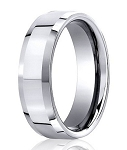 Comfort Fit 10K White Gold Wedding Ring with Designer Beveled Edge and Polished Finish – 6 mm - MB1299