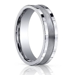 Comfort Fit 18K White Gold Wedding Band with Designer Carved Polished and Brushed Finish – 6 mm - MB1301