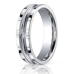 Comfort Fit 18K White Gold Wedding Band with Designer Carved Polished and Brushed Finish – 6 mm - MB1304