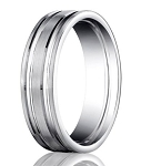 Satin-Finished 10K White Gold Designer Wedding Band with Polished Grooves | 6mm - MB0308