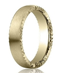 Designer Satin-Finished 14K Yellow Gold Wedding Band with Rivet Coin Edging | 4.5mm - MB3013
