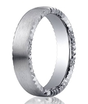 Designer Satin-Finished 14K White Gold Wedding Ring with Rivet Coin Edging | 4.5mm - MB3014