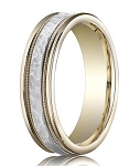 Designer Two-Tone 14K Gold Wedding Band with Hammered Center and Milgrain Edge | 6mm - MB3015