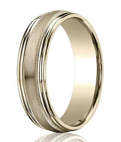 Mens 14k White Gold Wedding Band Satin Finish 6MM