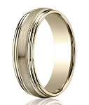 Satin-Finished 14K Yellow Gold Designer Wedding Ring with Milgrain and Double Round Edges | 7.5mm - MB3019