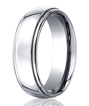 Mens Designer Cobalt Chrome Ring with Polished Finish and Rounded Edges | 7mm - MBCB1002